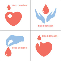Set of icons for blood donation