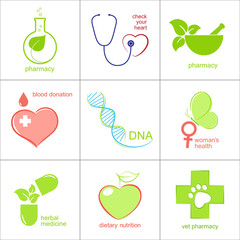 Set of icons for medicine, health care and pharmacy