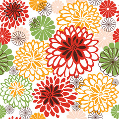seamless background with stylized chrysanthemums