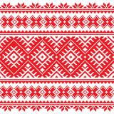 Seamless Ukrainian folk red embroidery pattern - 65495358