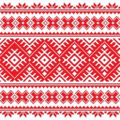 Seamless Ukrainian folk red embroidery pattern
