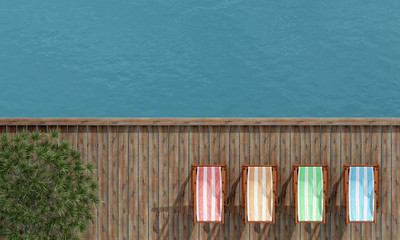 deckchairs on a wooden pier