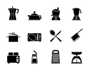 Silhouette kitchen and household equipment icons