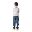 Full body portrait of eight year kid from behind against white b