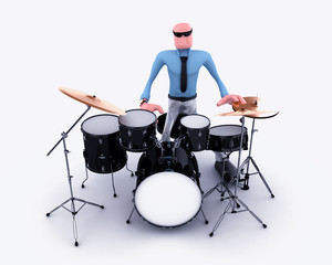 Cartoon man playing drum set