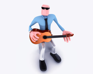 Cartoon Man playing guitar