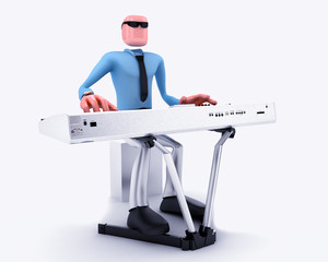 Cartoon Man playing music keyboard