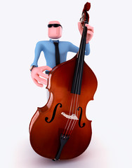 Cartoon Man playing double bass