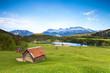 canvas print picture - Almwiese am Karwendel mit Blick zum See