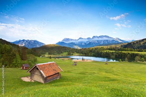 canvas print picture Almwiese am Karwendel mit Blick zum See