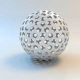 3d white shiny sphere - 65497119