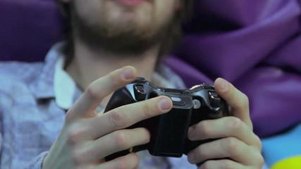 Man woman playing video game,  game addiction, having fun