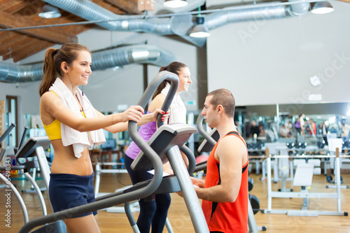 People training in a gym