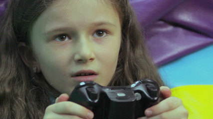 Young mother happy child play, video game addiction, time waste