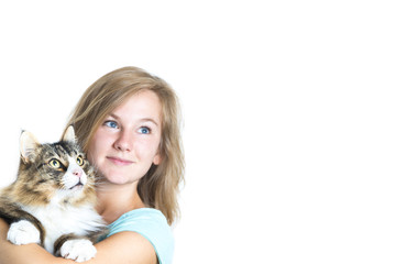 Blond Girl holding cat