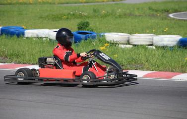 Karting  racing round the track