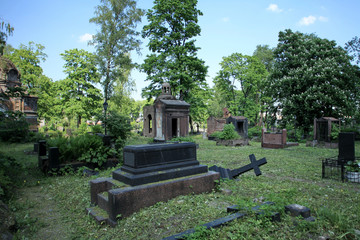 Old ruined cemetery dramatic scenery