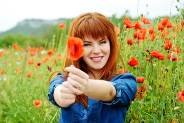 girl with poppy