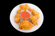 Fried Chicken with Pepper Sauce on White Plate