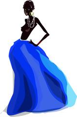 Негритянка в синем
