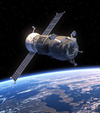 "Cargo Spacecraft ""Progress"" Orbiting Earth"