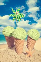 Three Mint Icecreams