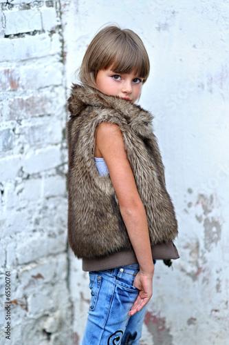 portrait of a beautiful fashion little girl © zagorodnaya