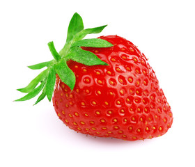 Ripe strawberry on white