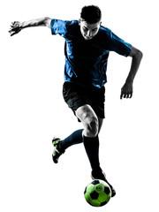 caucasian soccer player man juggling silhouette
