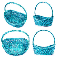 Group of empty wicker basket isolated