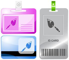 Trowel. Vector id cards.