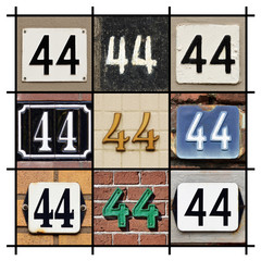 Collage of House Numbers Forty-four
