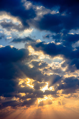 Sunbeam ray light cloud sky twilight color