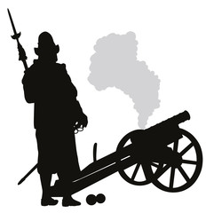 Conquistador with cannon detailed vector silhouette. EPS 8