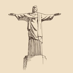 statue of Jesus Christ,  vintage engraved illustration