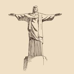 statue of Jesus Christ,  vintage engraved illustration