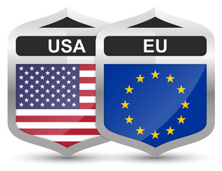USA & EU – Metal Shield Icons