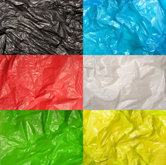 collection of various plastic bags textures isolated on white ba
