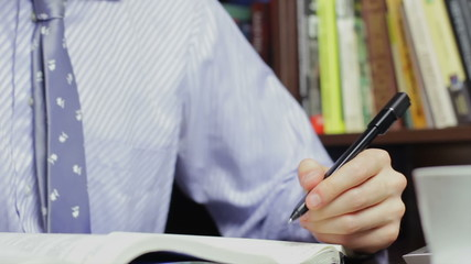 Student learning, handwriting, businessman doing paperwork