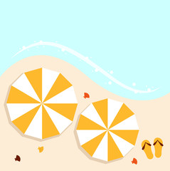 Beach summer background with umbrellas
