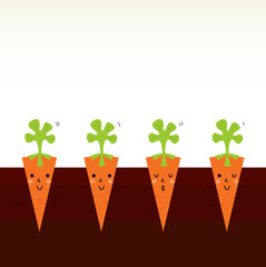 Cute beautiful cartoon Carrot characters in row