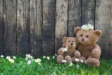 Glückliches Paar: zwei Teddybären heiraten auf Holz Hintergrund