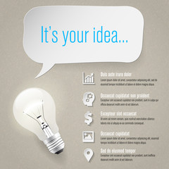 Idea concept - info graphics - paper icons - place for text