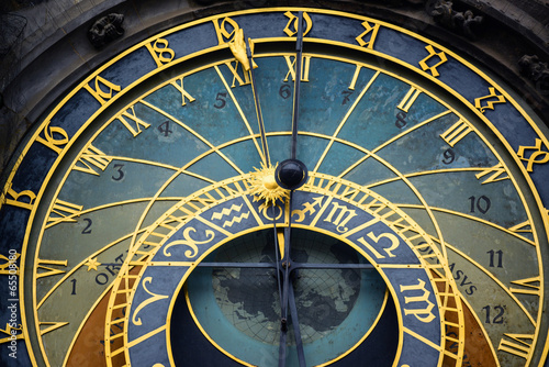 canvas print picture Detail of the astronomical clock in Prague