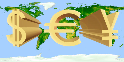 Volume dollar signs of the USA, eurocurrency and Japanese yen of