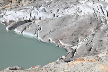 green alpine lake and glacier, source of Rhone river