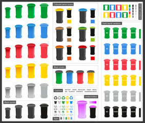Trash barrels of different kind - vector