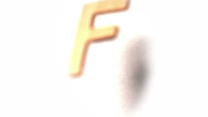 The letter f rising on white background