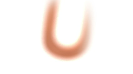 The letter u rising on white background