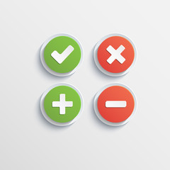 Round flat buttons of validation icons with shadow